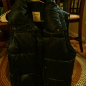 Gently used navy blue sateen vest w/puffy collar